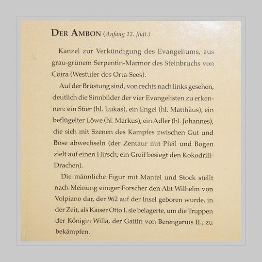 Text zum Ambon ('Lesepult' - Wikipedia) in der Basilika