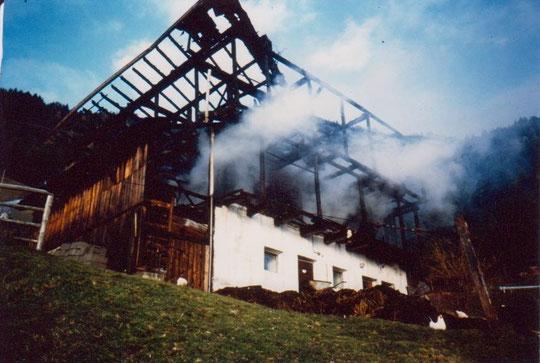 Brand der Scheune des Pineiderhofe am 2. November 1991
