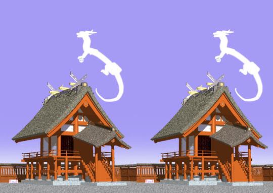 神社と龍神、Art by T.Shimagawa