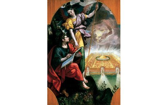 Martin de Vos (1532-1604),flamenco, San Juan escribiendo el Apocalipsis, Museo Nacional del Virreinato, Tepotzotlán, Méjico. Esbelto angel de belleza femenina que dicta el Apocalipsis sobre la vision de Jerusalen celestial (AP 21)
