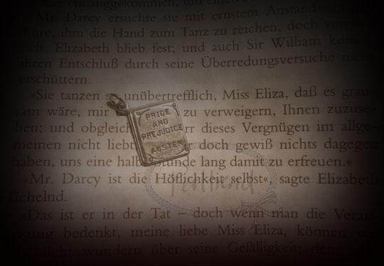Anhänger Buch Silber 925 Jane Austen Pride and Prejudice www.perltrend.com