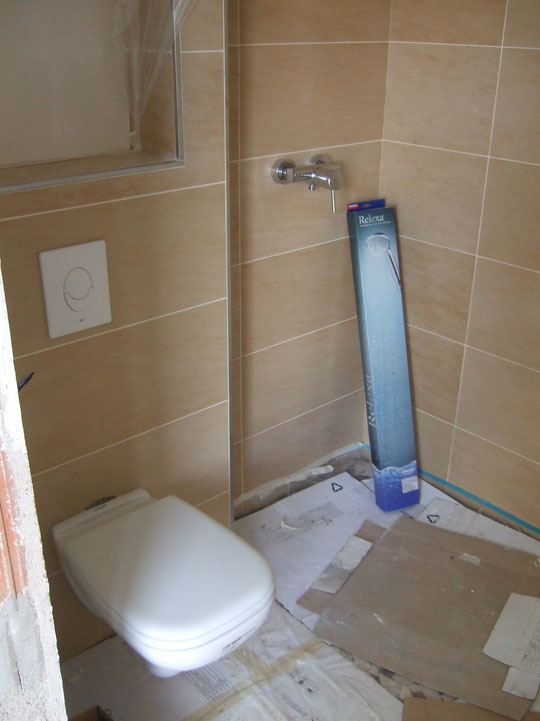 Dusche mit Armatur und WC im Gästebad
