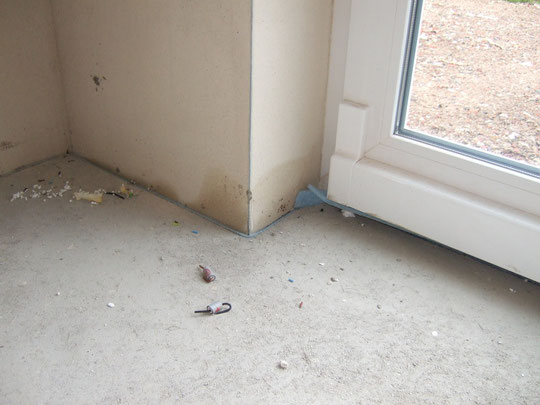 Feuchtigkeit an der Terrassentür im Esszimmer