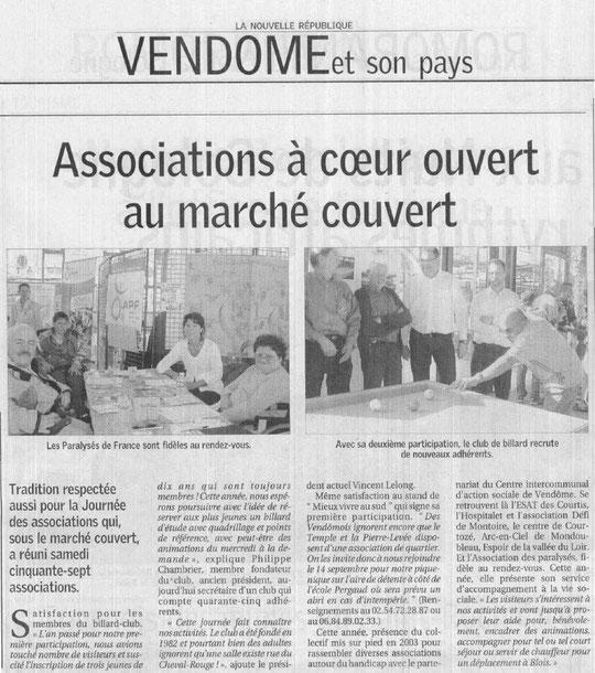 Article Nouvelle République - 8 septembre 2008