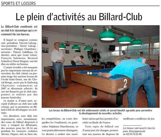 Article Nouvelle République - 15 septembre 2008