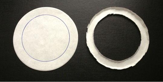 Abb. 1: Papierringe schützen die Glasschale bei der Reaktion von Natrium mit Wasser