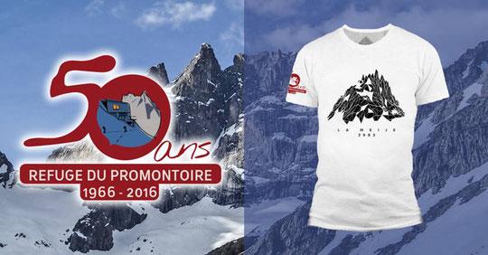 Le t-shirt des 50 ans du Promontoire est disponible à La Cordée de St Christophe en Oisans et au refuge  (il ne pésera pas trop lourd dans le sac...!)