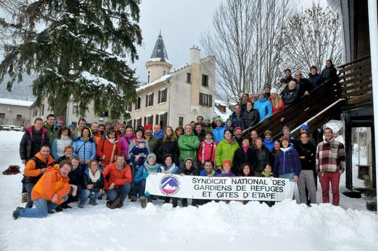 Toutes et tous gardiens de refuge en montagne. Nous étions 85 gardiens ce weekend à Autrans !