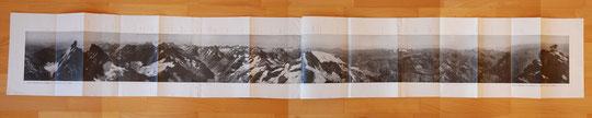 Document Bibliothèque Dauphinoise. Panorama depuis le sommet de la Meije, par Paul Helbronner  en 1906 ! (à regarder en grand format).