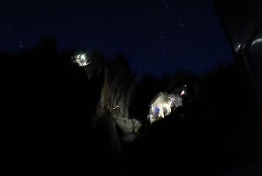 """Le  passage du """"Crapaud"""", le premier pas des 900 m de grimpe pour atteindre le sommet de la Meije."""