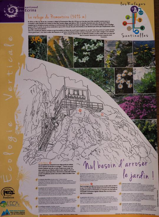 Vous pouvez agrandir la photo pour découvrir le contenu de ce poster maintenant affiché dans l'escalier interieur du refuge. Un grand merci au Parc National des Ecrins et à Cédric Dentant (son botaniste).