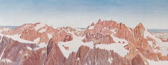 Aquarelle de la Meije par Paul Helbronner. 1906.