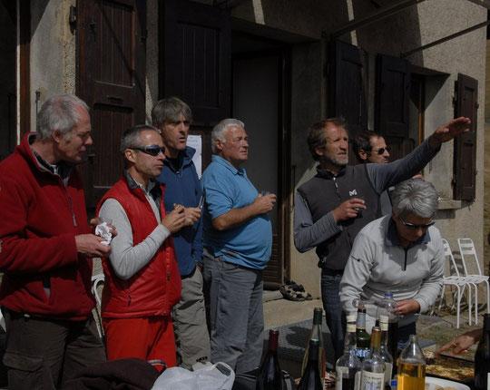 André (l'Alpe de Villar d'Aréne), Vincent et Jeff (Météo-France), Denis (Rif Tort), Frédi (le Promontoire), Bernard (Météo-France) et Marie Claude (Rif Tort).