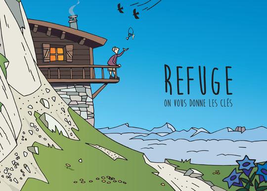 Petit clin d'oeil avec cette image publiée cet été par le Parc National des Ecrins.  En couverture d'une brochure sur l'accueil en refuge... Merci.