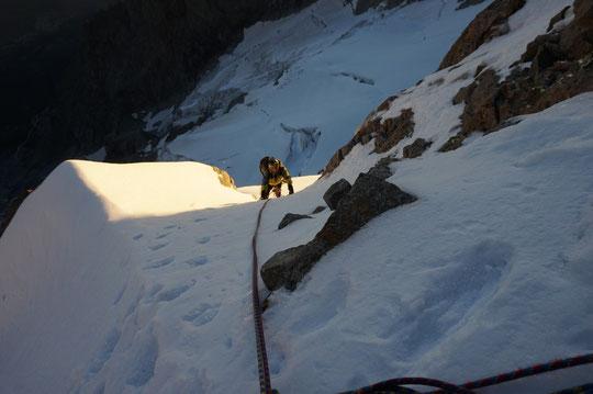 """Ambiance dans le """"Z"""" en face nord de la Meije (cette semaine). Merci à Philippe André pour la photo."""