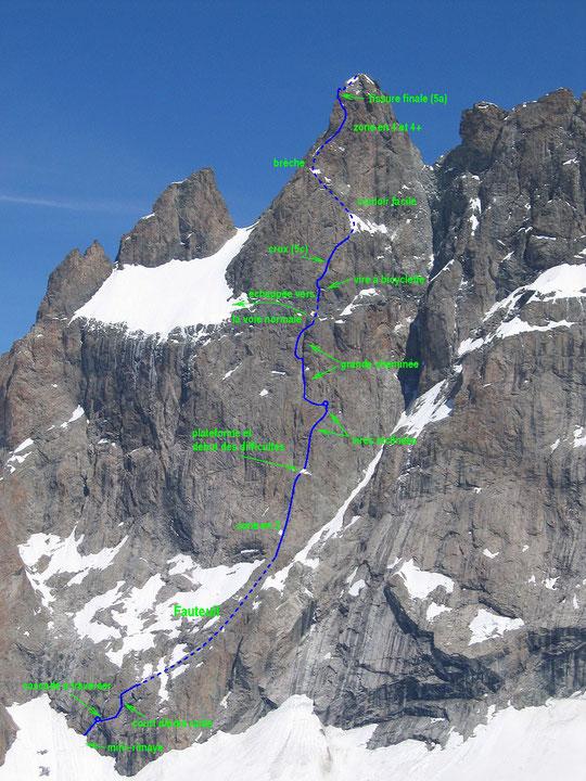 Cette face Sud du Grand Pic de la Meije est impressionnante. 900m de face raide, belle  et en bon rocher. Un des très grands itinéraires d'alpinisme, sur un sommet mythique !