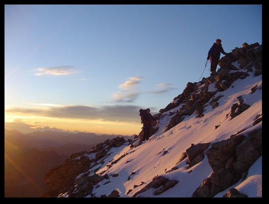 Un matin d'été vers les 6 heures... le soleil se lève sur La Meije.