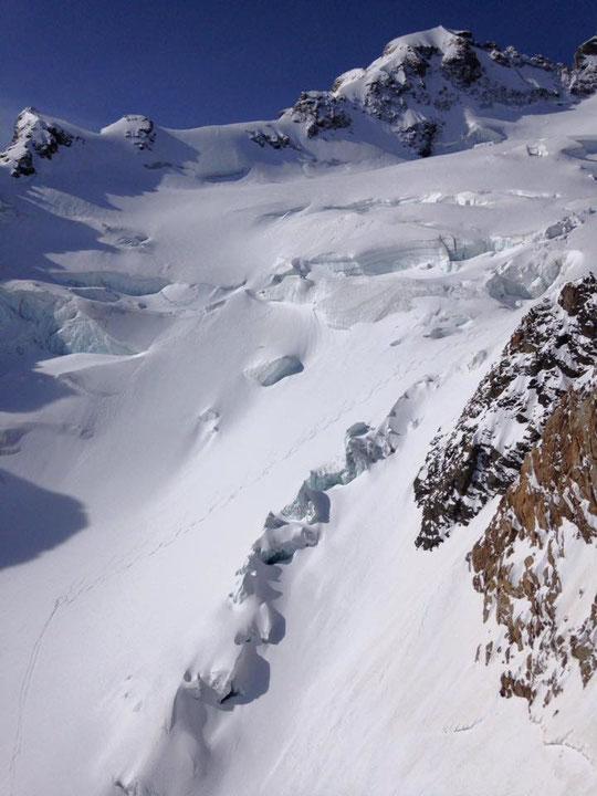 Tour de la Meije, la descente par le Glacier de l'Homme, sous la Meije Orientale. Un superbe itinéraire en bonnes conditions ce dimanche matin. Photo prise  par les Guides de la Grave . Merci.