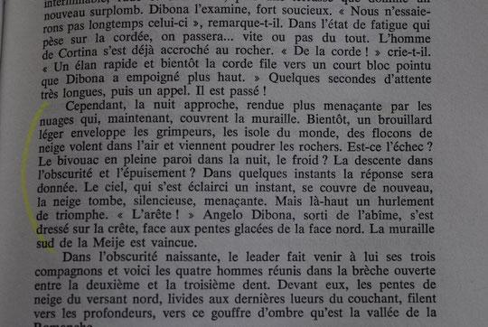 """Extrait de """"La Meije """" de Henri Isselin, avec plusieurs pages sur les tentatives et la première en face sud de la Meije par Angelo Dibona et Guido Mayer."""