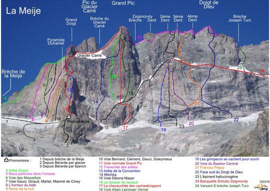 Notre bouquetin a emprunté un itinéraire proche de celui des pionniers de la Face Sud au moins jusqu'à 3700m (la Mayer Dibona N°15 , agrandissez la photo)