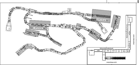 Aufbauplan für die Module in der großen Halle der Donaumooshalle