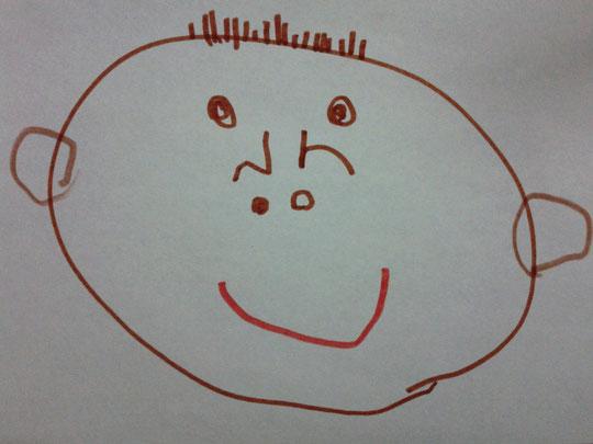 4歳(当時)の息子が描いた私の似顔絵です。