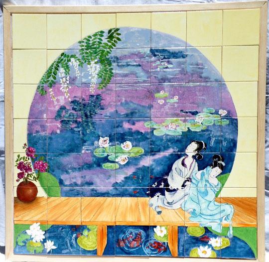 panneau de carrelage japonaises faisant leur toilette