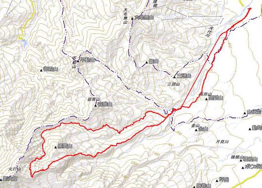 GPSログ   燕尾根から火打山  澄川滑降  全体像 (一部データ欠損有)