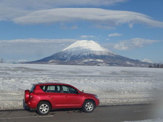 帰り道、昨年一年こだわって登った羊蹄山もきれいに見えてた。