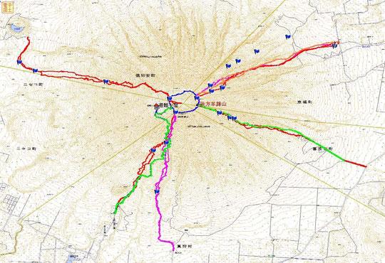 """""""毎月羊蹄山山頂に登ろう計画?""""1月~9月の記録(10回登頂)。8月は真狩コースの青トレース、9月は同緑のトレース"""