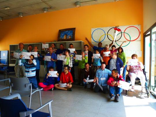 Foto de grupo de todos los ganadores en las olimpiadas 2014