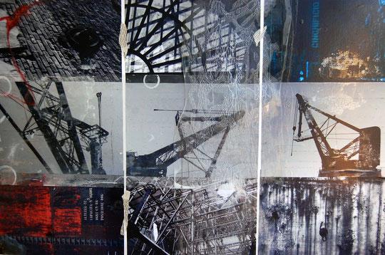 I segni del passaggio - Collage e tecnica mista su tela - 90 X 60