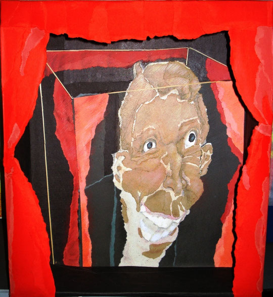 Pinocchiaccio - acquerello su cartone - tridimensionale - 33 X 38 X 10