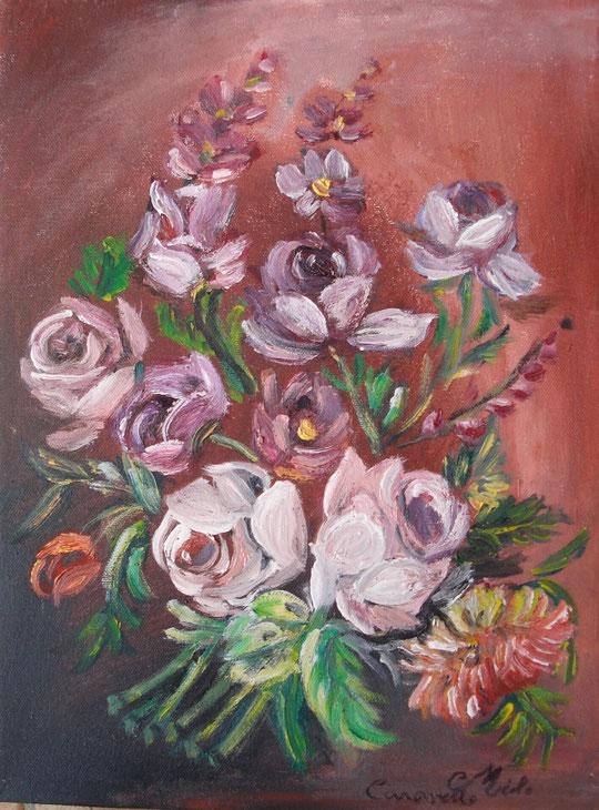 Omaggio floreale - olio su tela - 30 X 40