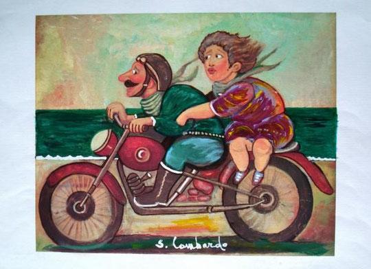 Lombardo Salvo - In moto - olio carta - 50 X 35
