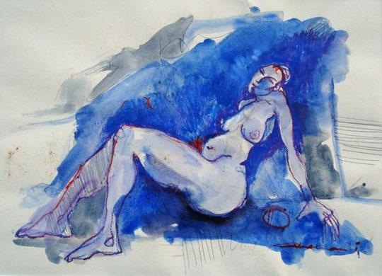 Accardi Angelo - Nudo - tempera carta - 70 X 50