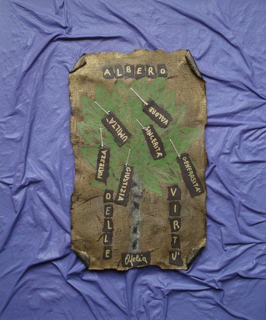 Berti Carla Ofelia - L'albero delle virtù - tecnica mista su tela - 50 X 60 - 2012