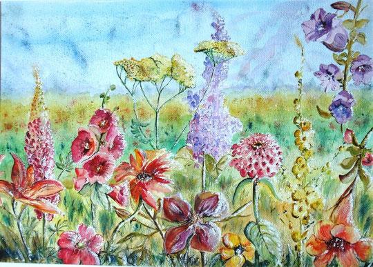 Marta Disetti - Il giardino della pace - acquerello su cartoncino - 70 X 50