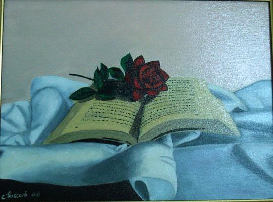 libro con rosa - olio su tela - 40 X 30