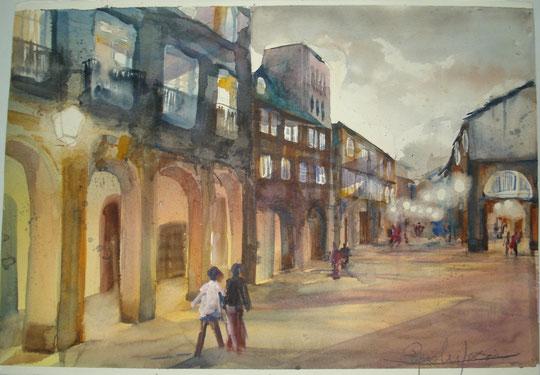Piazza Grande - acquerello su cartone - 54 X 35