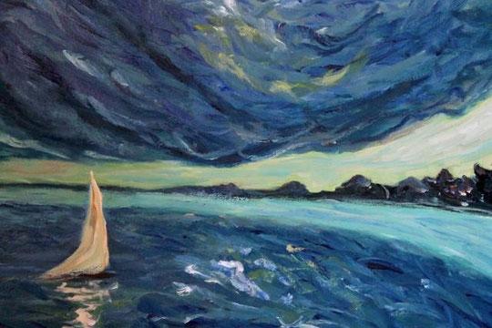 Patrizioni - La barca a vela - olio tela - 60 X 40