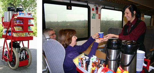 Bild vom Trolley und Kaffee in der Bahn