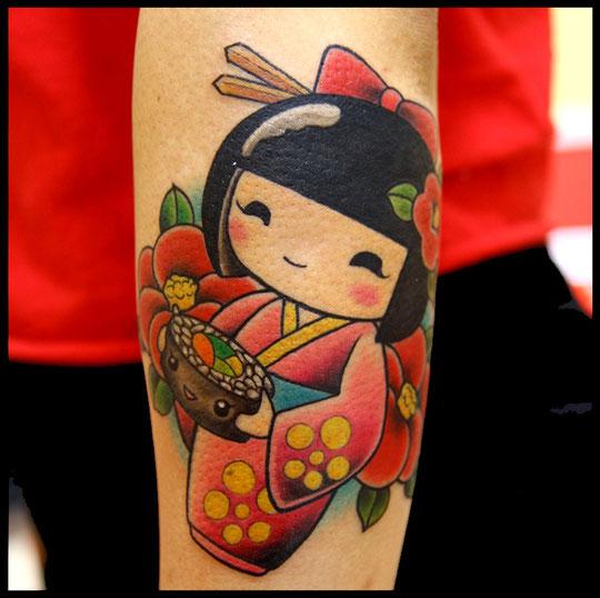 こけしとお寿司のタトゥー