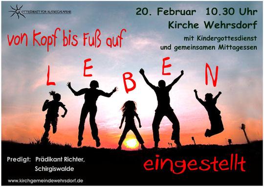 Plakat Gottesdienst für Ausgeschlafene Februar 2011
