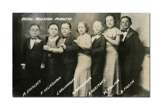 The Royal Russian midget troupe in the 1930s: four men and three women