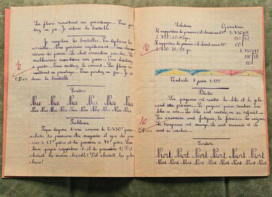Pleins et déliés sur un cahier d'école vers 1954