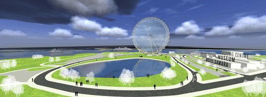Панорамный вид рекреационно-культурного центра прибрежной зоны с колесом обозрения