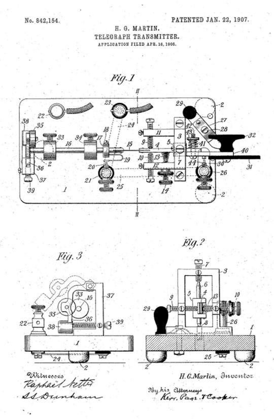 Figura 5. Brevetto Martin Vibroplex n.84152 richiesto nel Maggio 1905 e rilasciato nel 1907.