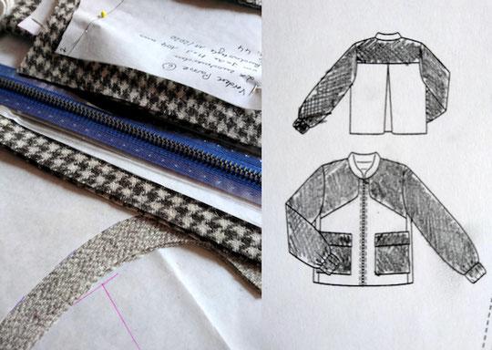 Zuschnitte für meine Tweedjacke und technische Zeichnung aus der Burdastyle 11/2020 © Griselka 2021, Burdastyle