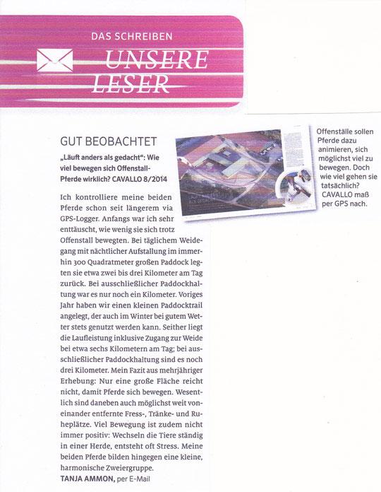 Mein Leserbrief in der Cavallo, Ausgabe September 2014